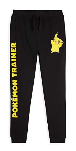 Pokémon Jogging Enfant Pikachu, Bas De Survetement Garcon Ou Fille 100% Coton, Pantalon Sport pour Enfants 4-14 Ans (Noir, 11-12 Ans)