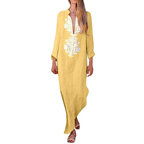 Holywin Mode Populaire Robe Maxi à Manches Longues et à Encolure en V pour Femmes Robe Longue Caftan Bouffant à Manches Longues