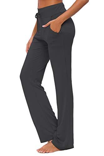 OURCAN Pantalon de Yoga pour Femmes avec Poches, Jambe Large, Cordon de Serrage lâche, Salon...