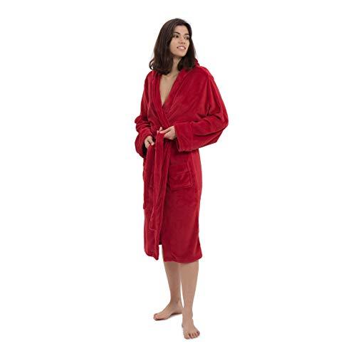 Lumaland Peignoir de Luxe en Microfibre avec Capuche - Pour Femme et Homme – Disponible en Différentes Tailles et Couleurs - Rouge L