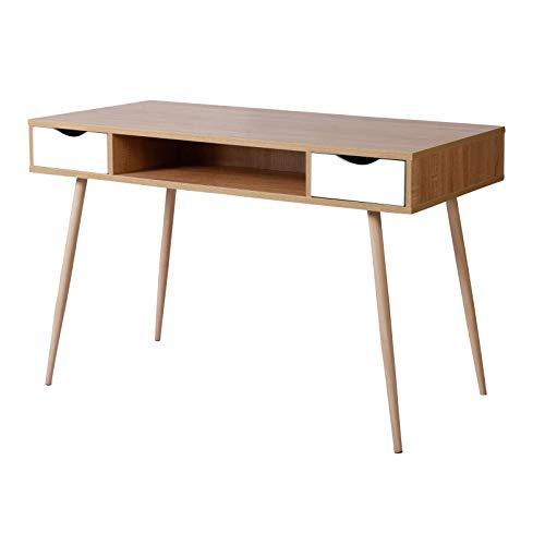 eSituro Table d'Ordinateur Table de Bureau en Bois avec 2 tiroirs,Design Scandinave,SCD0017,Chêne