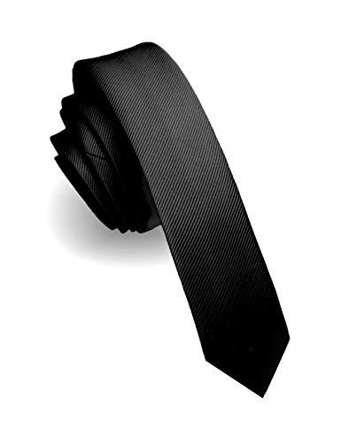 JEMYGINS Cravate Homme Noir en Soie 4CM Étroit Extra Silm Plusieurs Couleurs Disponibles de...