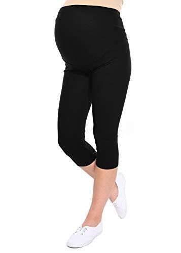 Oasi - Leggings 3/4 de maternité de Bonne qualité 95% Coton 3082 (EU 36, Noir)