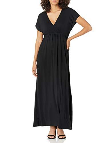 Amazon Essentials Robe longue sur-plissée pour femme, noir, US S (EU S - M)