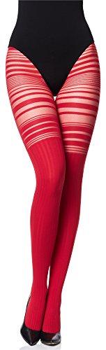 Merry Style Collant Fantaisie à Motif Lingerie Sexy Sous-vêtements Femme MS 252 (Rouge, M)