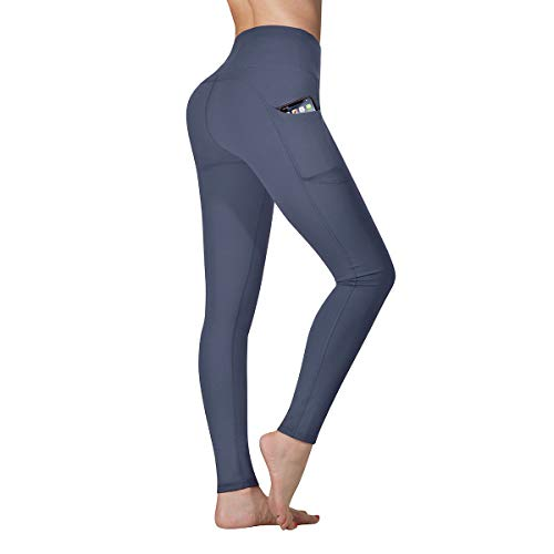 Vimbloom Leggings de Sport Femmes Pantalon de Yoga avec Poches Yoga Fitness Gym Taille Haute Leggings VI263(Gris Bleu,S)