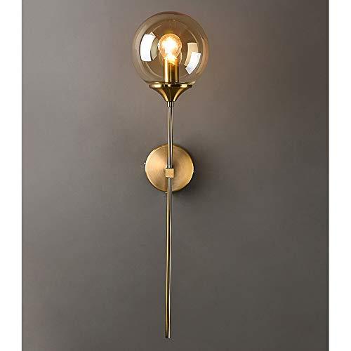 MZStech Applique murale industrielle vintage, globe en verre Ambre avec applique murale dorée à bras long, applique murale dorée pour chevet (Ambre)