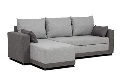aquinos Confort24 Leah Canapé d'angle en L Convertible Reversible 3 Places Chaise Longue d'angle Droit ou Gauche en Tissu Salon Décoration Maison (Gris)