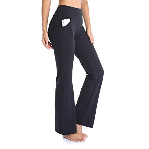 GIMDUMASA Pantalon de Yoga Femme Fluide Taille Haute Jambe Large Bootcut Legging de Yoga avec Poches pour Fitness Yoga Jogging GI604(Noir,L) prix et achat