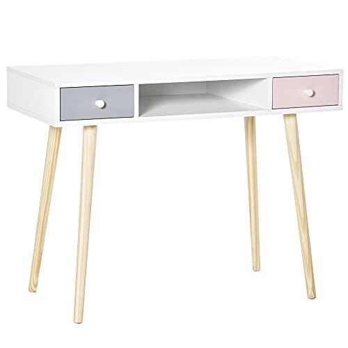 Bureau enfant style scandinave avec tiroir et compartiment de rangement 100L x 48l x 76,5H cm MDF et pin blanc gris et rose