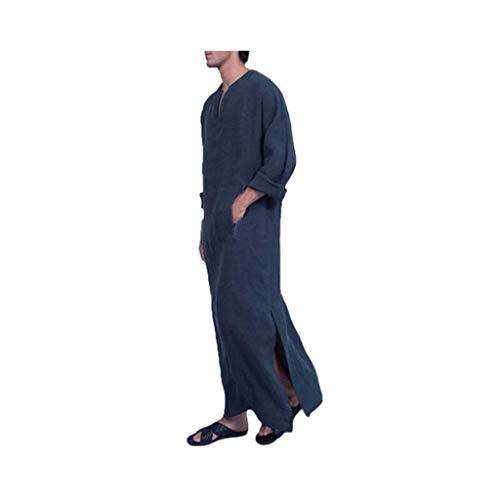 HUAZONG Robe musulmane décontractée ethnique musulmane en lin avec poches, imprimé caftan du Moyen-Orient - Bleu - XXL