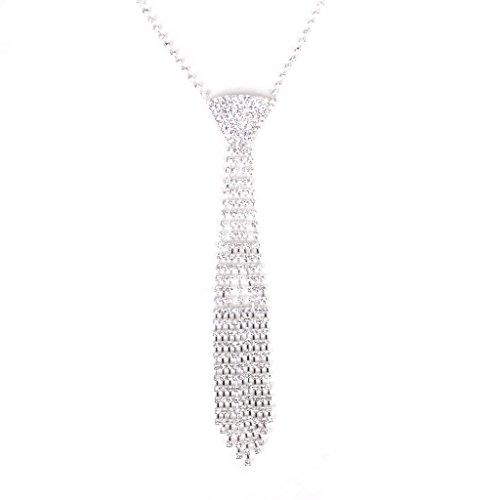 Collier Cravate en Strass Scintillant Bijoux pour Bal Mariage - Couleur d'argent