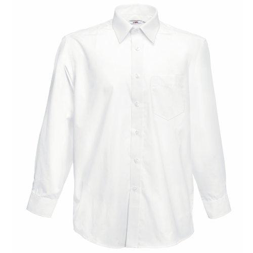 Fruit of the Loom Long Sleeve Poplin Shirt Chemise Casual, Blanc (White), XXX-Large Homme