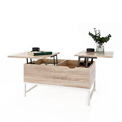 Table Basse Relevable avec 2 Compartiments Table D'appoint...