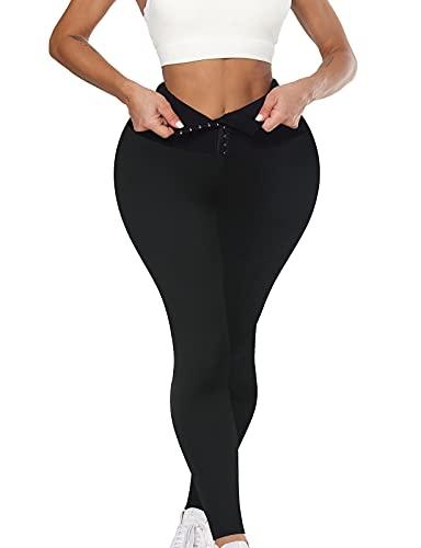 OUTUOSI Legging de sport gainant pour femme, taille haute de compression sans couture, pour course à pied, entraînement, yoga - Noir - Medium
