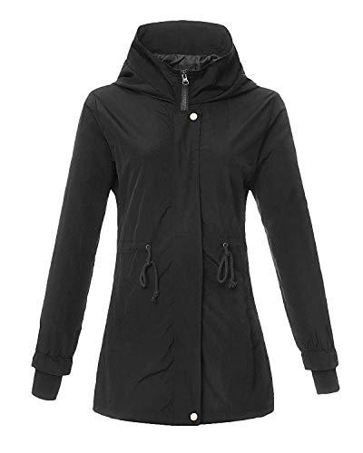 4How Jacket Léger Femme Blouson Imperméable Respirant Veste Etanche Féminine Noir 36