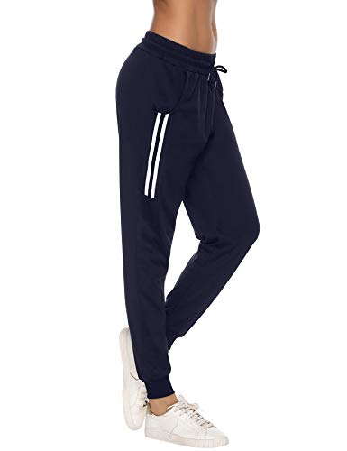 Aibrou Pantalon de Sport Femme Coton Stripe Pantalon Long pour Jogging Running Fitness Bas de...