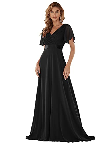 Ever-Pretty Robe de Soirée Longue Femme Col V Manches Courtes 48 Noir
