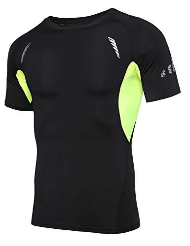 Sykooria T Shirt Compression Homme T Shirt Running Homme T Shirt de Sport Manche Courte Séchage Ultra Rapide Sport Course Fitness Gym(Jaune-1, L)