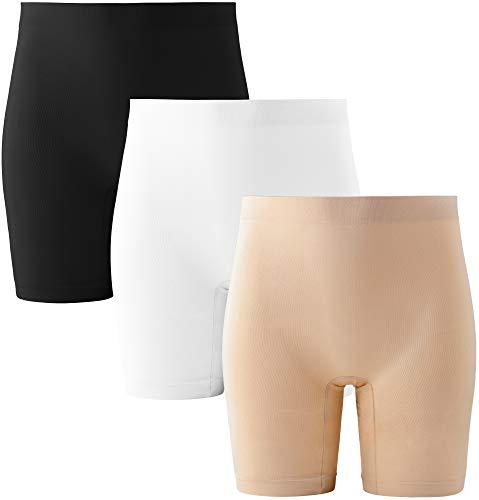 INNERSY Short Femme sous Jupe Legging Court Eté Anti Frottement Seamless Shorty Boxer Lot de 3 (XL, Noir/Blanc/Beige)