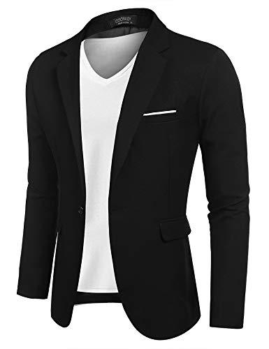 COOFANDY Veste de sport décontractée pour homme - Veste légère - Un bouton, Noir foncé., XL