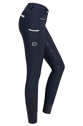RIDERS CHOICE Pantalon d'équitation pour Femmes avec Fond Complet en Silicone, Limited Silver Design - RidersDeal Collection pour Les Cavaliers, Dark Sapphire, 38