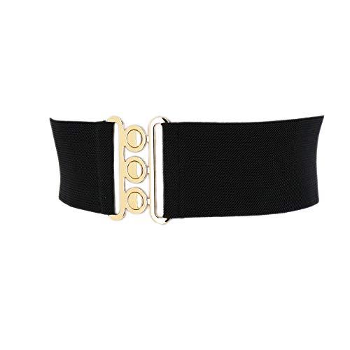 FASHIONGEN - Ceinture femme élastique, ceinture large à boucle 3 boutons, style vintage,...