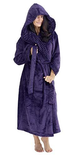 CityComfort Robe de Chambre Femme - Peignoir Femme Polaire à Capuche (Violet, XL) prix et achat