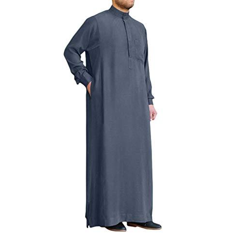 Hommes Musulmane Robes Couleur Unie - Col Debout Manches Longues Arabe Thobe Caftan Vêtement Islamique Été Longue Tops avec Poches