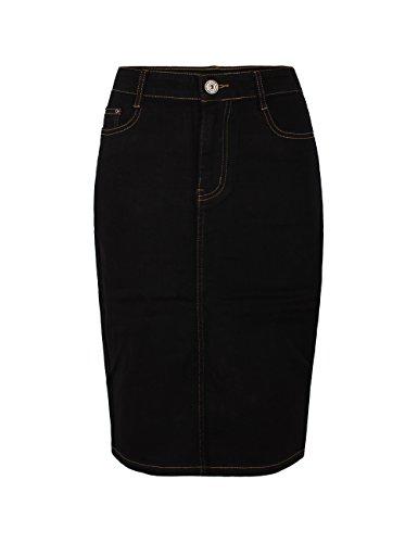 Fraternel Jupe Jeans Femme Longueur Genou Noir 48