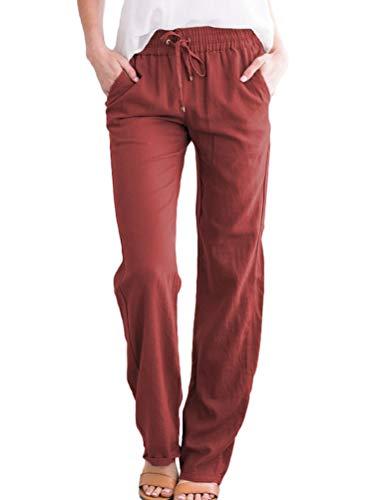 ORANDESIGNE Femme Pantalon en Lin Taille élastique Sport Lâche Confortable Léger Couleur...