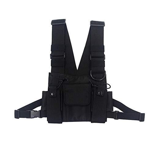 Longzhuo Sac à bandoulière, sac de poitrine Hip Hop Street Wear pour homme, poches réglables, gilet (homme/femme)