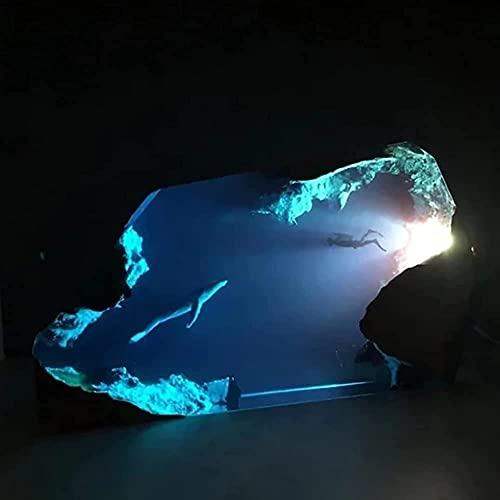 gth Lumières LED en forme de baleine, grande lampe en bois époxy et résine de silicone, veilleuse 3D
