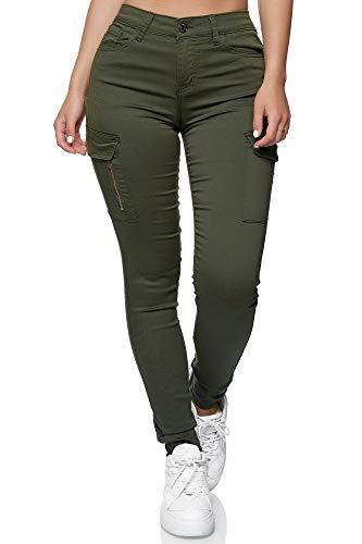 Elara Pantalon Cargo Femme Slim Fit Denim Chunkyrayan YH2527 Olive-46 (3XL)