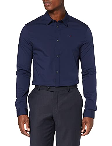 Tommy Jeans Homme Original Stretch Chemise Casual Manches Longues coupe slim Bleu (Black Iris 002) Medium