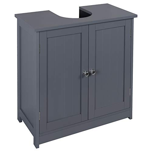 eSituro Meuble de Rangement pour Salle de Bain avec découpe Siphon,Meuble sous lavabo de Salle de Bain en MDF,Gris SBP0045