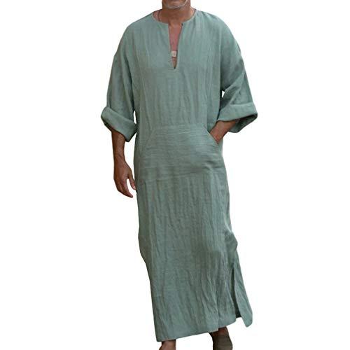 Caftan Ethnique Robe pour Hommes, Costumes à Une pièce en Vrac Rétro Solide Couleur Occasionnels Thobe Robe avec Longue Manches Plus la Taille Deux Styles