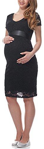 Be Mammy Robe Soirée en Dentelle Grossesse Maternité BE20-162 (Noir, L)
