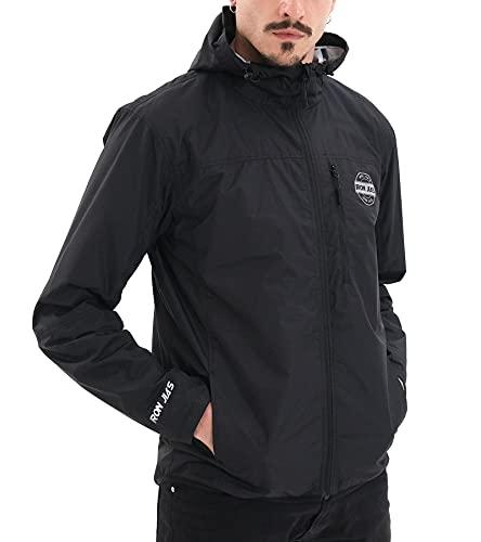 IRON JIA'S Veste de Moto Homme, Urbain Blouson Motard avec Protections Amovibles pour Épaules et Coudes, Veste de Protection Moto Léger Respirant pour L'été Printemps Noir-XL