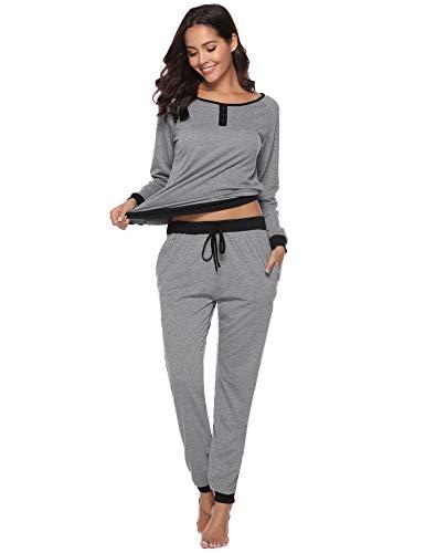 Aibrou Pyjama Femme Coton Ensemble de Pyjamas Nuit Manche Longue Col Rond pour Tout Les...