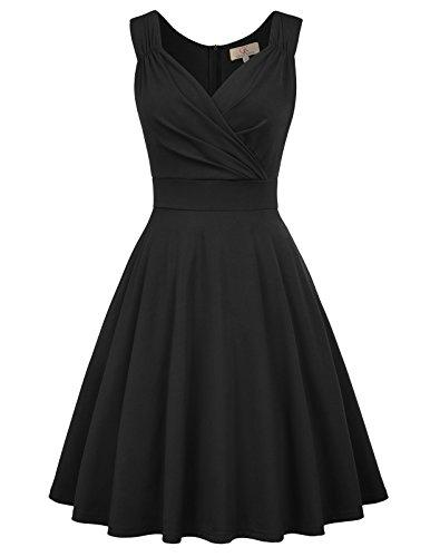 Robe Années Audrey Hepburn Rockabilly Swing Plissé Robe s Manche ,XL,Cl698-1