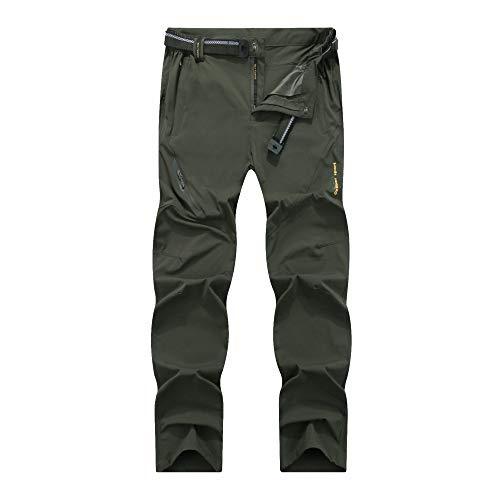 LY4U Pantalon de randonnée à séchage Rapide en Plein air pour Hommes léger Respirant Camping Trekking Course de Montagne Cyclisme Chasse Pantalon Extensible Armée Verte L