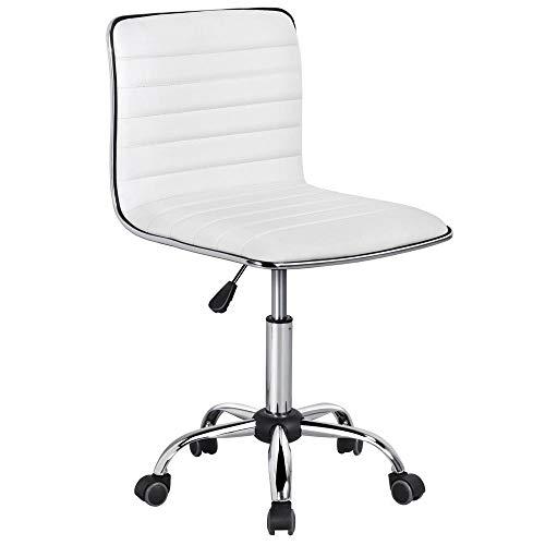 Yaheetech Chaise de Bureau Sans Accoudoir à Dossier Bas Tabouret de Travail à Roulettes Assise Réglable Chaise d'Ordinateur 120 kg Blanche Chaise pour Chambre