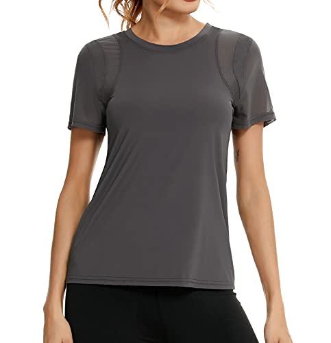 Wayleb Tee-Shirt de Sport Femme àManches Courtes Tops de Sports Femme pour Pilate Yoga...