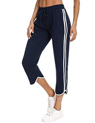 Abollria Pantalon Jogging Femme Ete, Pantalon d'Été Femme 3/4 Pantalon de Survêtement Femme...