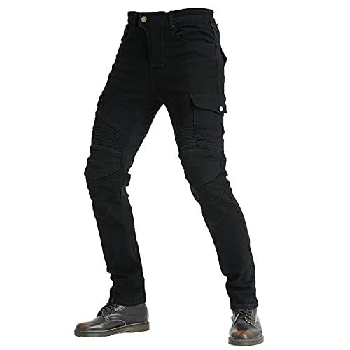 KAISUN Moto Hommes Jeans, Protection Moto Pantalon, avec Protection Doublure Moto Pantalon D'Équitation avec Protéger Pads (Noir,XL)