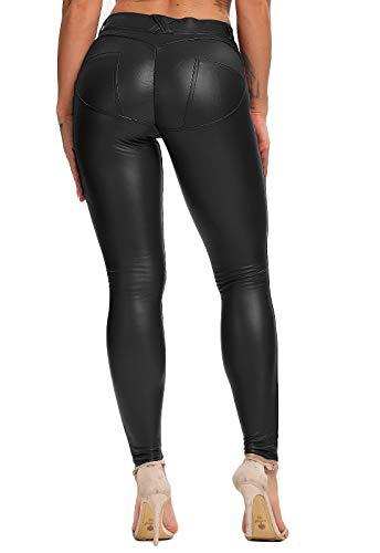 FITTOO Legging Cuir Femme Pantalon Sexy Collant Mince Slim Taille Haute Elastique PU Pantalon...
