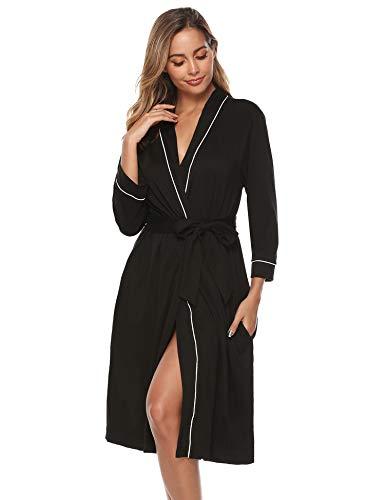 iClosam Robe de Chambre Kimono en Coton pour Femmes en Tricot pour Femmes, col en V, Peignoir...