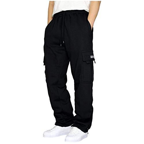 Pantalon Jogging Sport Hommes Bootcut avec Grandes Poches Latérales Grande Taille Pantalon Noir Travail de Loisirs Casual Workout Vêtement Homme