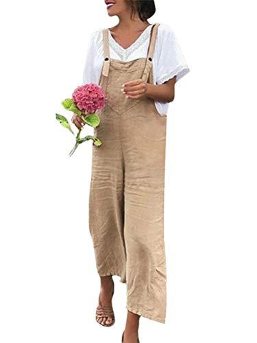 Minetom Femme Salopette Casual Large Ample Sarouel Pantalon Combinaison Jumpsuit Chic Fluides Playsuit Overalls Rompers Kaki FR 42